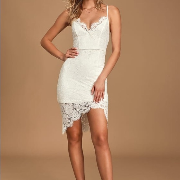 Lulu's Dresses & Skirts - Flirting with Desire White Lace Bodycon Dress